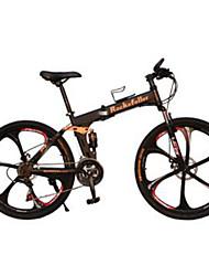 Bicicleta De Montanha Unissex Garfo com Suspensão a Mola Freio a Disco Duplo Suspensão Traseira Comum 21 velocidade 26 polegadas Aço