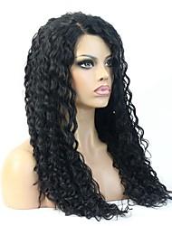 """8-24 """"vierge cheveux humains profondément bouclés glueless pleine perruque de dentelle peruvian pour les femmes noires"""