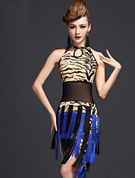 Latin Dance Dresses Women's Performance Milk Fiber Tassel(s) 1 Piece Zebra / Tiger Stripes / Leopard Print Latin Dance Dress