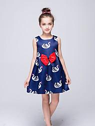 Girl's Blue Dress,Print Polyester Summer / Spring