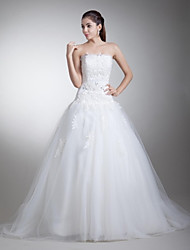 A-line Wedding Dress Court Train Strapless Satin / Tulle with Appliques / Beading