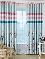 Deux Panneaux Moderne Bande dessinée Bleu / Rose chambre d'enfants Polyester Rideaux occultants rideaux