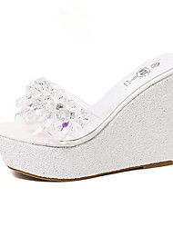 Women's Comfort Leatherette Outdoor Wedge Heel Pink White Silver Gold