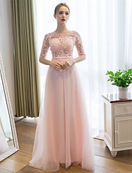 Formal Evening Dress Sheath / Column Scoop Floor-length Lace / Tulle with