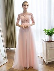 Bainha / coluna colher de garganta comprimento do chão laço tulle prom formal vestido de noite com faixa / fita