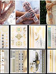 8шт новый водонепроницаемый корпус искусство женщины золото серебро сексуальное ожерелье браслет цепи ювелирные наклейки временную