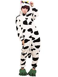 Kigurumi Pyjamas Milchkuh Gymnastikanzug/Einteiler Fest/Feiertage Tiernachtwäsche Halloween Schwarz-Weiss Tiermuster Druck Korallenfleece