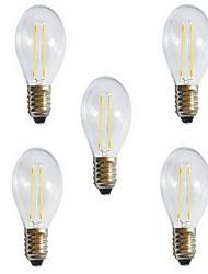 5pcs a60 2w e27 250LM 360 degrés chaud blanc froid couleur edison filament lumière / LED lampe à incandescence (AC220V)