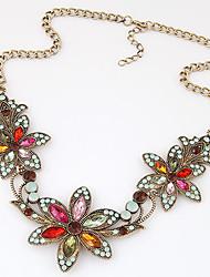 Women's European Fashion Sweet Retro Shiny Bauhinia Flower Statement Necklace