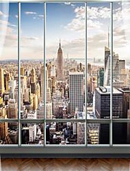 "(6'5 ""x 3'2 ft)High Quality Flash Silver Cloth Modern Fake Windows Sofa Bed Bedroom Wallpaper Murals New York"