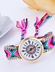 Mulheres Relógio de Moda Quartz Tecido Banda Cores Múltiplas marca-