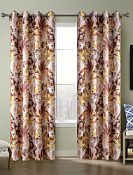 Chadmade Heat Tranfer Print Flower  Pattern - Nickle Grommet - Brown
