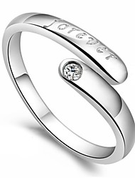 Sterling Silver Ring Forever Love Silver Plated Ring Adjustable Fashion Jewelry for Women Wedding Engagement Ring