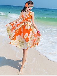 Women's Beach Sexy / Boho Loose Dress,Floral V Neck Above Knee Sleeveless Orange / Yellow Polyester Summer