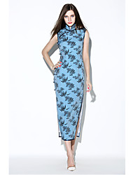 De las mujeres Corte Bodycon Vestido Vintage / Simple Estampado Midi Escote Chino Poliéster