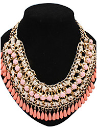 Women's Statement Necklaces Pearl Necklace Pearl Alloy Fashion Statement Jewelry Yellow Fuchsia Green Blue Pink JewelrySpecial Occasion