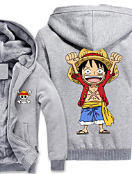 Inspirado por One Piece Monkey D. Luffy Anime Fantasias de Cosplay Hoodies cosplay Estampado Manga Longa Blusa Para Masculino