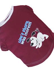 Собаки Футболка Коричневый Одежда для собак Лето Буквы и цифры / Мультфильмы