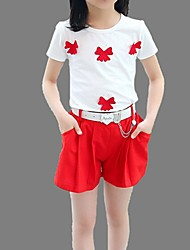 Girl's Red Clothing Set,Bow Cotton Summer