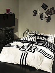 Blakc striped duvet cover Sets 100% Cotton Bedding Set Queen/Double/Full Size