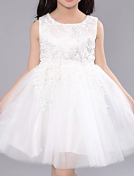 Girl's Polyester Summer Flower Printing Bubble Dress