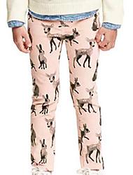 Pantalones Chica de-Todas las Temporadas-Algodón-Rosa