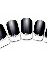 abstraites xf821 noir 3d français ongles autocollants