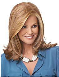 Classic Natural Europe and American Ladies Wigs for Daily Wear Fashion Style Blonde Medium Length Pretty Wigs