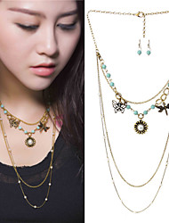 MOGO Women Vintage / Cute / Party  Casual Alloy / Gemstone & Crystal / Imitation Pearl / Resin Necklace / Earrings Sets