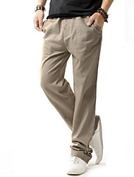 Men's Chinos,Casual Solid Linen Pants Fashion Trousers