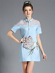 aofuli mujeres más tamaño bordado de la ropa del remiendo del organza atractivo de ver a través vestido