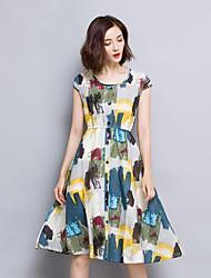 Women's Vintage Print A Line Dress,Round Neck Knee-length Linen