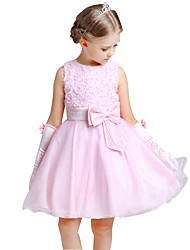 Girl's Cotton Summer Rose Formal Dress Flower Girls Performing Dress