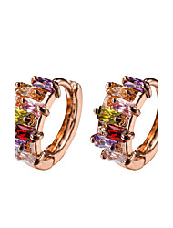 18k Gold AAA Zircon Hoop Stud Earrings Jewelry