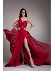 Formal Evening Dress A-line One Shoulder Court Train Chiffon with Beading / Crystal Detailing