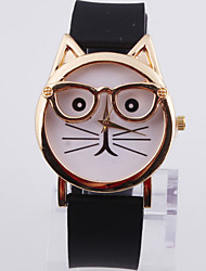 Man's Gold Shell Wearing Glasses Cat Silicone Watch