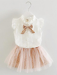 Girl's Pink / Gray Clothing Set,Lace / Bow Cotton Summer