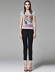 ZigZag® Femme Col Arrondi Manche Courtes T-shirt Gris - 11462