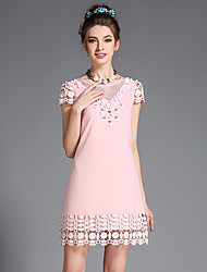 Fashion Plus Size Women's Sexy See Through Gauze Patchwork Hollow Embroidery Lace Bead Party Dress