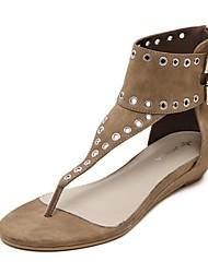 Women's Shoes Suede Flat Heel Gladiator Sandals Casual Black / Khaki