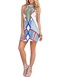 Women Dress Geometric Print Round Neck Sleeveless Mini Dress