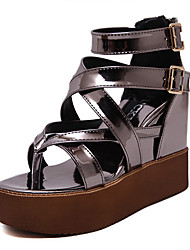 Women's Shoes Patent Leather Wedge Heel Flip Flops Sandals Dress Black / Gray