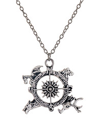 Fashion Style Antique Silver Alloy Compass Pendant Necklace