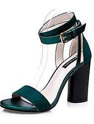 Women's Shoes Velvet Chunky Heel Heels Sandals Casual Black / Green / Red
