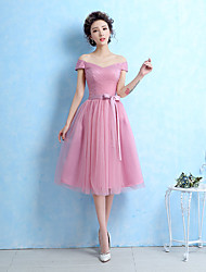 Tea-length Off-the-shoulder Bridesmaid Dress - Short Sleeveless Tulle
