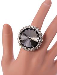VIntage Style Silver Statemenr Rhinestone Crystal Adjustable Ring