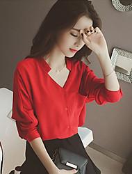 Женский Однотонный Блуза V-образный вырез,Длинный рукав,Полиэстер