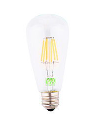 6W E26/E27 LED лампы накаливания ST64 6 COB 500-600 lm Холодный белый Декоративная AC 85-265 / AC 220-240 / AC 110-130 V 1 шт.