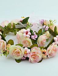 Mulheres Menina das Flores Tecido Capacete-Casamento Ocasião Especial Casual Ao ar Livre Grinaldas 2 Peças