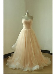 A-line Wedding Dress Court Train Sweetheart Tulle with Draped